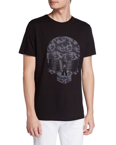 Men's Camo Skull Graphic Crewneck Short-Sleeve T-Shirt