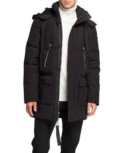 Men's Down Parka w/ Faux Fur Trim