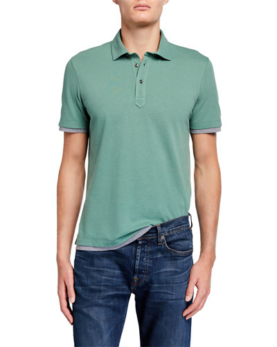 Men's Overlapping Cotton Slim Polo Shirt