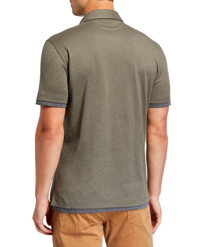 Men's Short-Sleeve Layer-Effect Polo Shirt