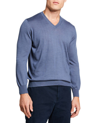 Men's V-Neck Fine-Gauge Sweater