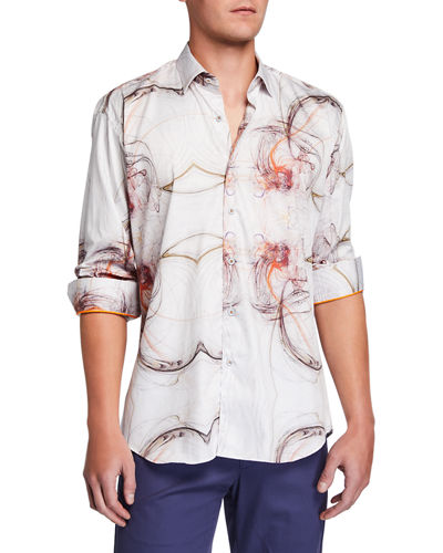 Shaped-Fit Fibonacci Spiral-Print Sport Shirt