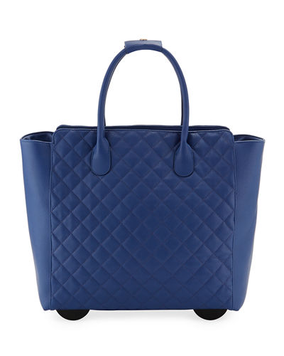 Camilla Quilted Top-Handle Rolling Travel Bag