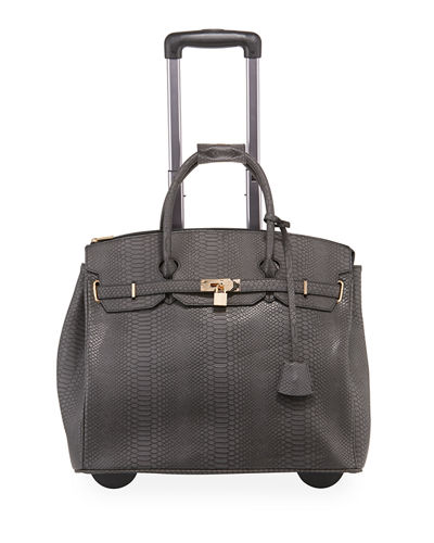 Ainsley Croc-Embossed Faux-Leather Rolling Bag