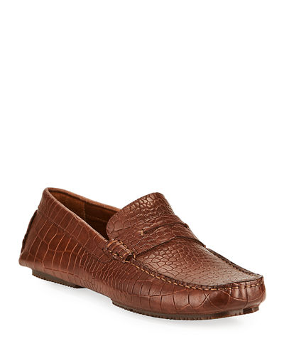 Veeto Croc-Embossed Leather Driver Loafers