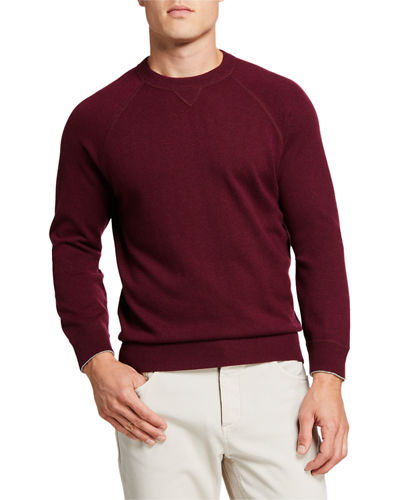 Men's Solomeo Fine Gauge Wool/Cashmere-Blend Crewneck Sweatshirt
