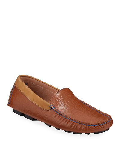 Chaplin Paisley-Embossed Leather Driver Loafers