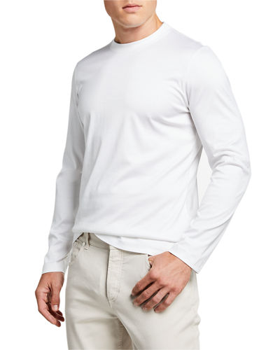 Men's Long-Sleeve T-Shirt with Two-Tone Collar