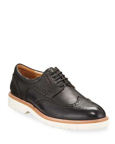 Men's Atomic Wing-Tip Leather Derby Shoes