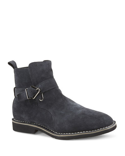 Grayson Suede Buckle Moto Boots