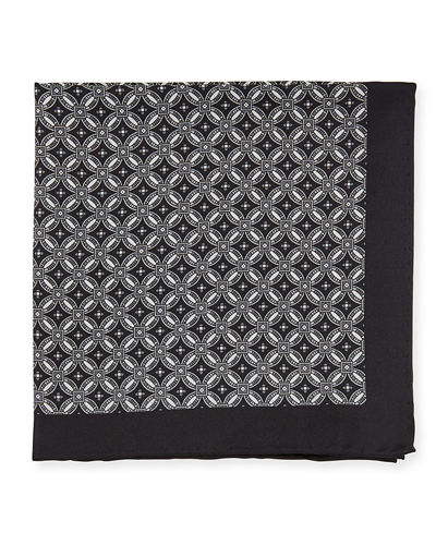 Men's Neat Medallion-Print Silk Pocket Square