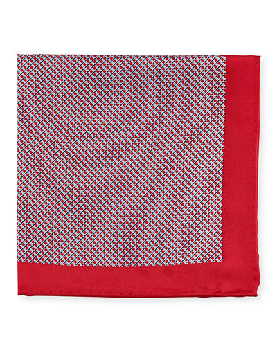 Men's Neat Dot-Print Silk Pocket Square