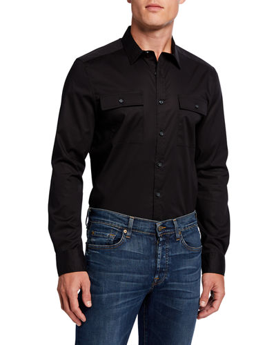 Men's Solid Two-Pocket Mobility Sport Shirt