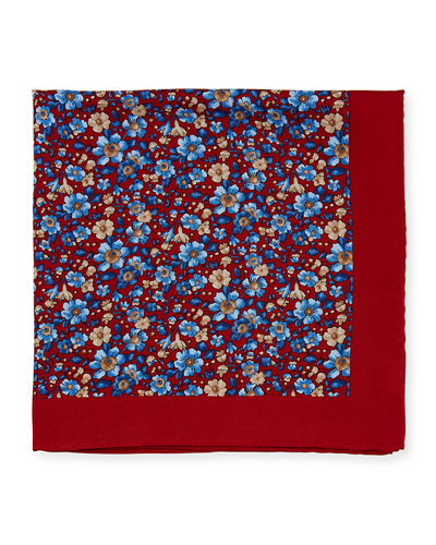 Men's Floral Silk Pocket Square