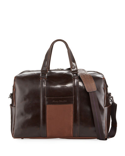 Men's Aegean Glossy Leather Weekender Bag