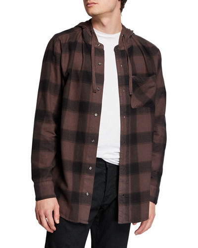 Men's Schuyler Check Button-Front Hoodie Sweater