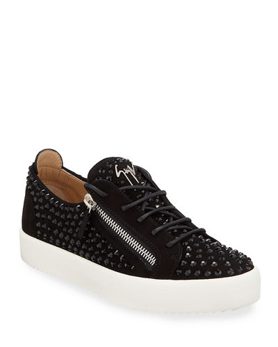 Men's Crystal-Embellished Suede Double-Zip Sneakers