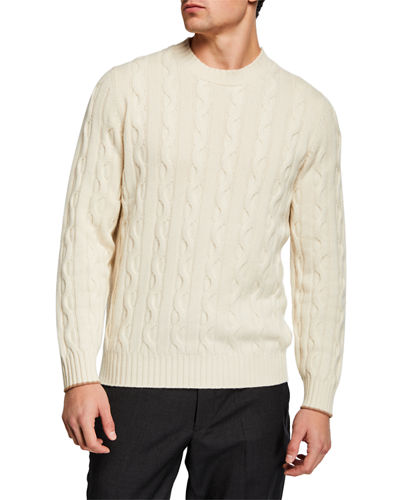 Men's Braided Cord Crew Neck Sweater