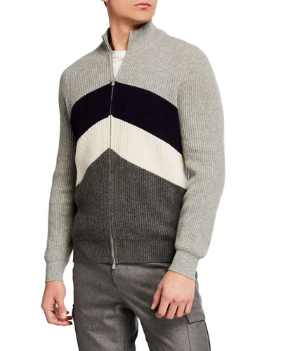 Men's Cashmere Chevron Colorblock Zip Cardigan
