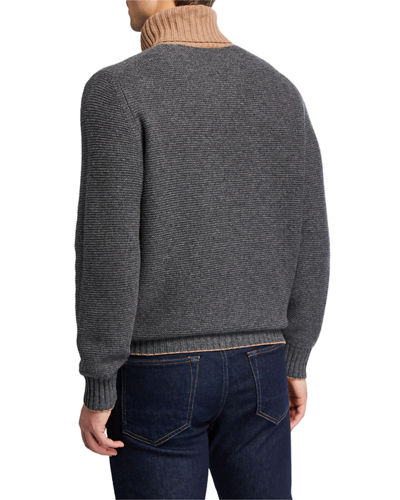 Men's Bi Color Turtleneck Sweater