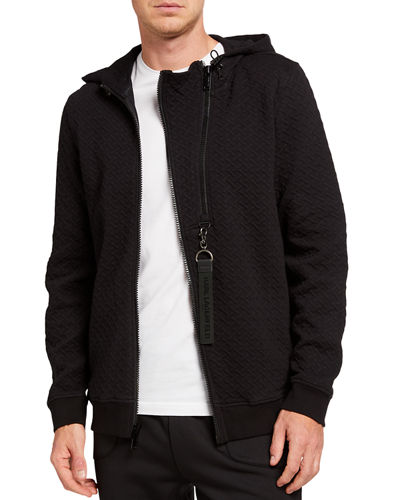 Men's Basket Quilted Zipper-Front Hooded Jacket
