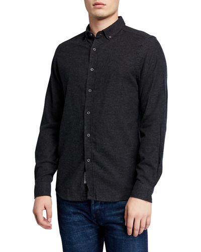 Men's Melange Cotton Sport Shirt