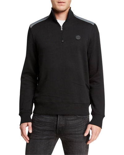 Men's 1/4-Zip Nylon-Shoulder Sweater