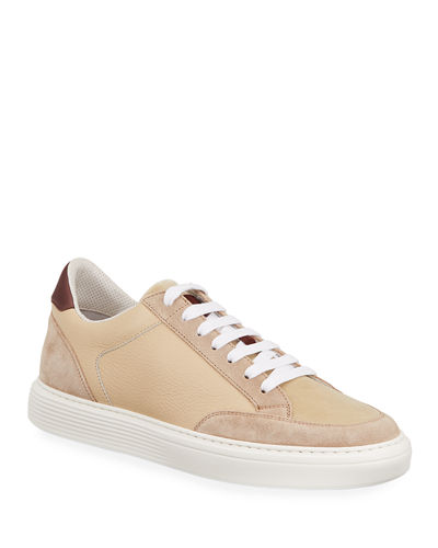 Men's Colorblock Suede and Leather Court Sneakers