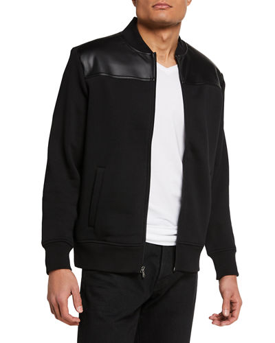 Men's Bomber Jacket w/ Faux Leather