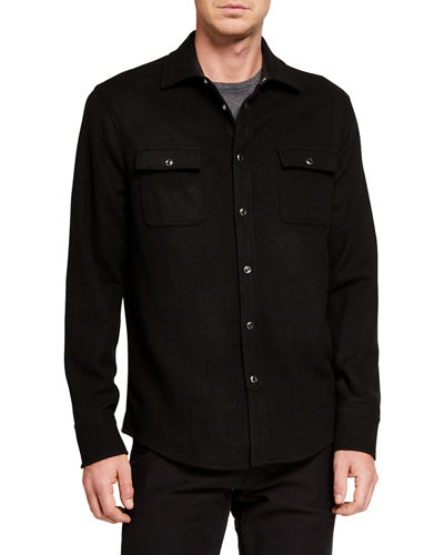 Men's Wool-Blend Long-Sleeve Sport Shirt