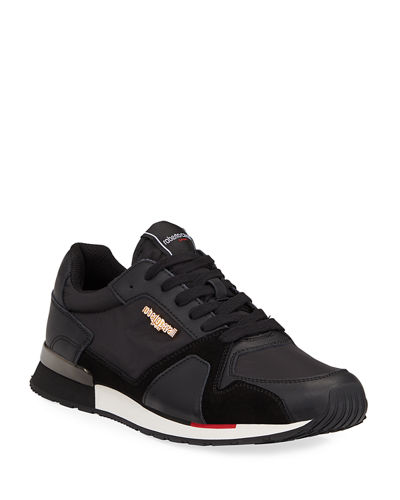 Mixed Leather Trainer Sneakers