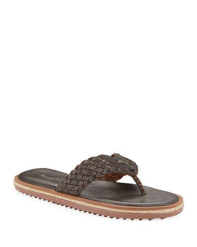 Men's Saltholm Woven Leather Thong Sandals