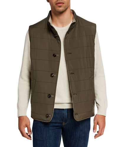Men's Springtime Reversible Wool-Blend Vest