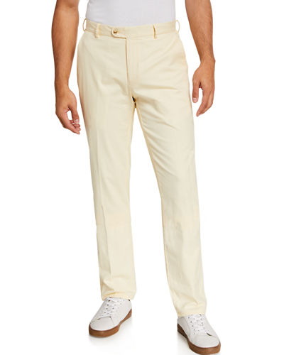 Men's Soft Twill Flat-Front Pants