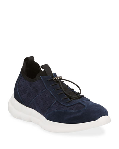 Men's Drawstring Low-Top Suede Sneakers