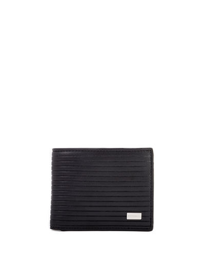 Men's Striped Leather Bi-Fold Wallet