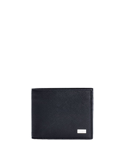 Men's Saffiano Leather Bi-Fold Wallet
