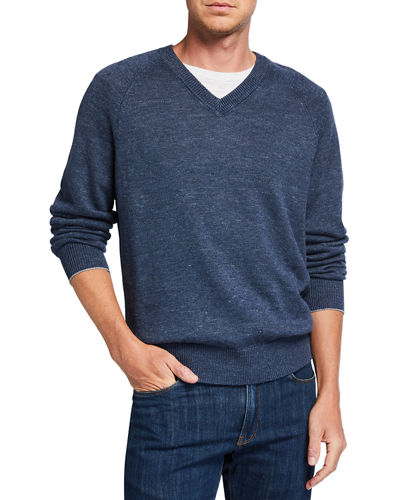 Men's V-Neck Raglan-Sleeve Sweater