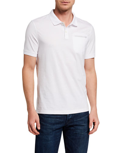 Men's Ribbon-Trim Pocket Polo Shirt