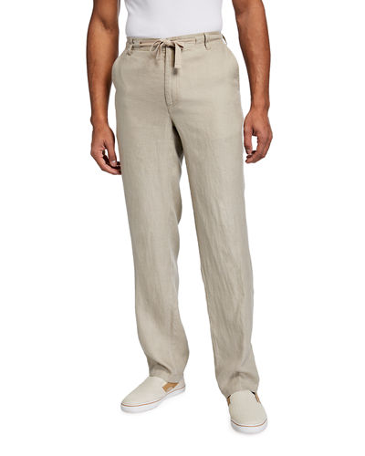 Men's Piece-Dyed Linen Drawstring Pants