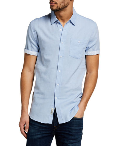 Men's Nep Cotton Contrast-Reverse Sport Shirt