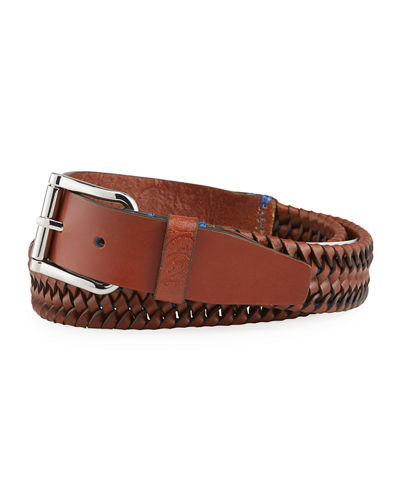 Men's Farina Woven Leather Stretch Belt