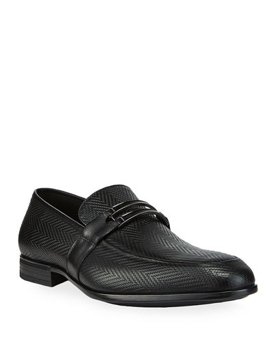 Men's Herringbone Loafers with Front Buckle