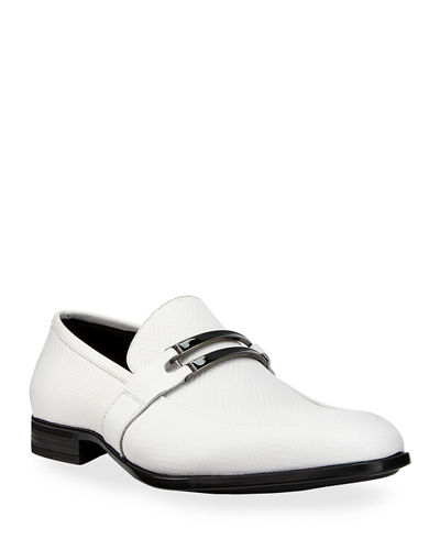 Karl Lagerfeld Paris Men's Herringbone Loafers with Front
