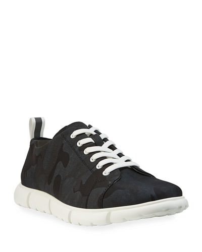 Men's Camo-Embossed Low-Top Sneakers