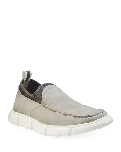 Andrew Marc Men's Slip-On Boat Sneakers with Elastic