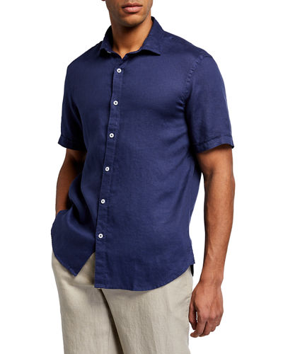 Men's Short-Sleeve Piece-Dyed Linen Sport Shirt