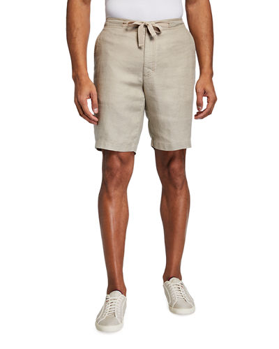 Men's Piece-Dyed Linen Drawstring Shorts