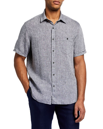 Men's Linen Chambray Short Sleeve Sport Shirt