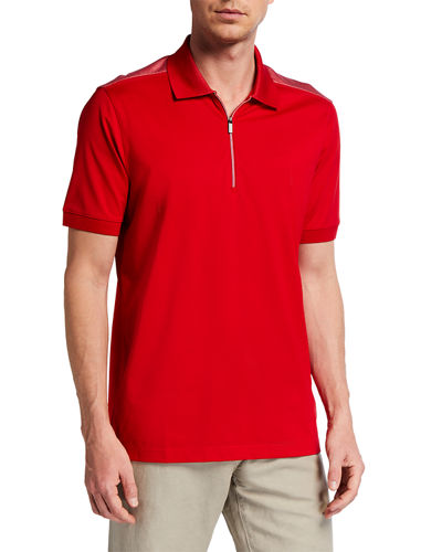 Men's Short-Sleeve Pique Contrast Polo Shirt